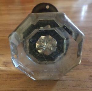 Vintage Antique 8 Point Clear Glass Door Knob With Closet Lock Set