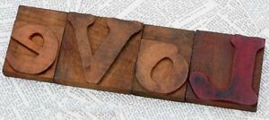 love Rare Wood Type Woodtype Font Letterpress Printing Blocks Letter Antique