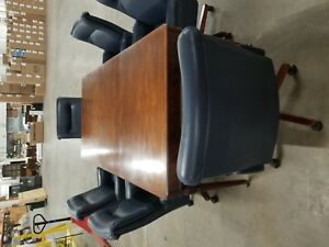 Conference Table W 6 Custom Blue Leather Rolling Chairs