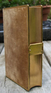 Antique 1870 Bible Brown Felt Cover W Brass Clasp Edging Beautiful