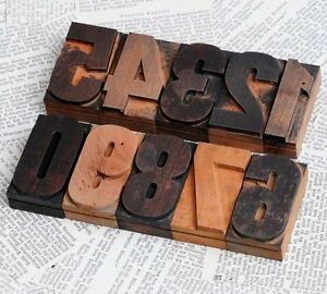 0 9 Numbers Letterpress Wood Printing Blocks Wooden Letters Printer Number Old
