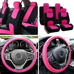 Auto Car Seat Covers 2 Row For Solid Benches With Silicone Steering Cover