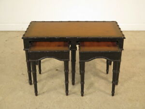 F23051c Chinoiserie Decorated Coffee Table W Small Nesting Tables