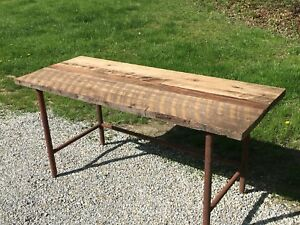 Rustic Vintage Workbench Antique Industrial Kitchen Island Table Wood Iron Desk