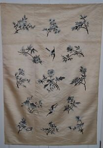 Antique Chinese Silk Embroidery Panel Satin Stitch Birds Flowers As Is