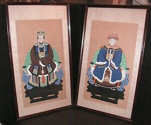 Antique Chinese Ancestor Man Woman Framed Hand Painted Portraits On Silk