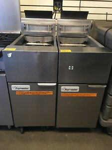 2 Slightly Used Frymaster Gf14 sd 40 Lb Gas Fryer On Castors