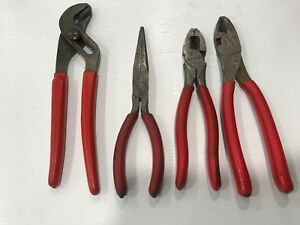 4pc Set Snap On Pliers Needle Nose Lineman Side Cutter Channel Lock Made Usa