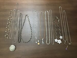 Vintage Lot Sterling Silver 925 Jewelry Not Scrap Necklaces Some Stones Other