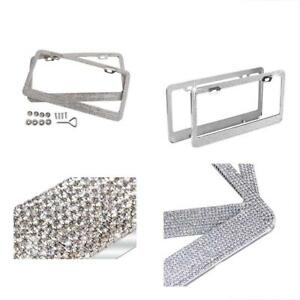 Bling Luxury Rhinestones License Plate Frame For Women With Two Hole Pack Of 2