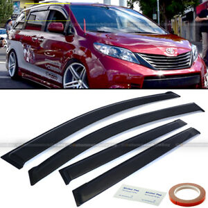 Fit 11 18 Toyota Sienna Jdm Style Black Tinted Trim Window Visor Deflector