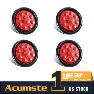 4 Red 4 Round Led Clearence Light Side Marker Indicators 12v Rv Roat Tail Lamp