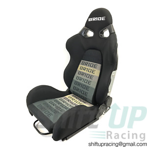 Pair Bride Cuga Black Gradation Fabric Low Max Reclinable Racing Seats W sliders