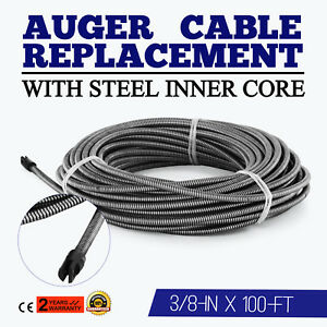 100 Ft Drain Auger Cable Replacement Plumbing Snake Sink Clog Sewer Pipe Cleaner
