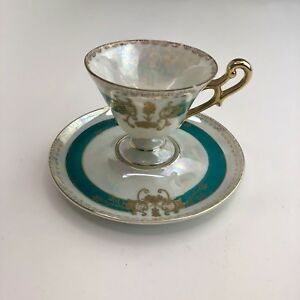 Vintage Lefton China Tea Cup Saucer Hand Painted 110 Teal Gold Iridescent Nice