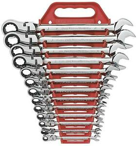 Gearwrench 9702 13 Piece Flex head Combination Ratcheting Wrench Set Sae