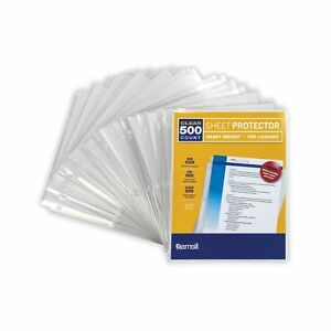 3 3 Mil Thickness Top Loading Reinforced 3 Hole Punched Sheet Protectors 500ct