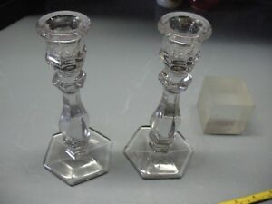 Glass Candlesticks 7 Vintage Originals