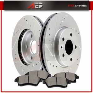 Front Drilled Slotted Brake Discs Rotors Ceramic Pads For Chevy Cruze Sonic