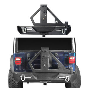 Rear Bumper W Tire Carrier Receiver Hitches For Jeep Wrangler Tj 97 06