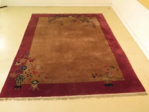 Lf43334c Antique Chinese Purple Border Openfield Wool Rug