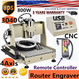 Usb 4axis 3040 Cnc Router Engraving Milling Carving Machine 800w controller Best