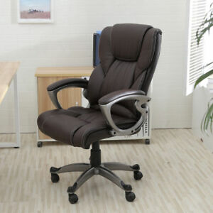 Brown Pu Leather High Back Office Chair Executive Task Ergonomic Computer Desk 3