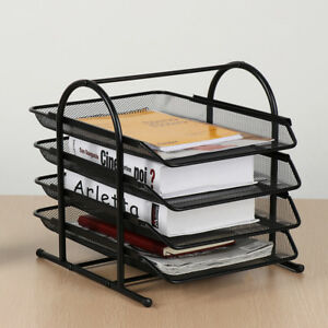 Desktop Black Document Box Tray Organizer File Box 4 tier Shelf Steel Mesh