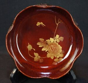 Japan Lacquer Plate 1950s Japanese Traditional Obon Paper Art Craft
