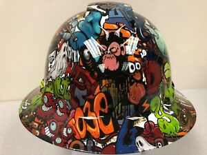 New Full Brim Hard Hat Custom Hydro Dipped Sticker Bomb Cartoon