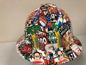 New Full Brim Hard Hat Custom Hydro Dipped Sticker Bomb Mickey