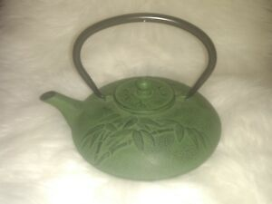 Japanese Green Metal Teapot Old Vintage Japan Alloy Cast Iron Bamboo Coffee Tea
