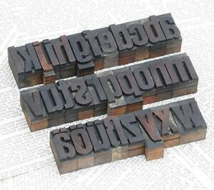 A z Alphabet 1 42 Letterpress Wooden Printing Blocks Wood Type Vintage Shabby
