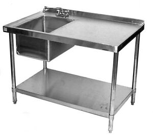 24x84 All Stainless Steel Kitchen Table With Prep Sink On Left