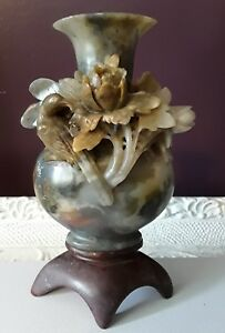 Antique Chinese Carved Stone Floral Bird Soapstone Vase On Carved Stone Base