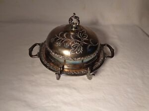 3 Pc Pairpoint Mfg Company Victorian Silverplate Floral Etched Covered Butter Nr