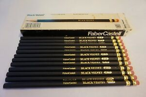 Vintage Faber Castell Black Velvet 10052 2 5 12 Writing Pencils With Box
