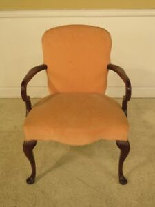 F13425 Hickory Chair Co Queen Anne Mahogany Upholstered Arm Chair