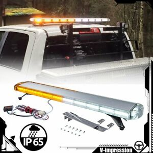 47 Inch Amber White Cob Led Roof Strobe Light Bar Emergency Beacon Hazard Warn