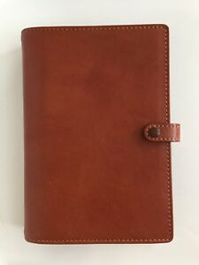 Filofax York Personal Size Planner Organizer British Tan Leather Excellent