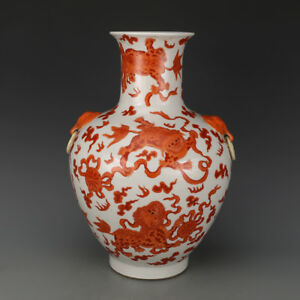 Chinese Old Marked Iron Red Lions Play Balls Pattern Elephant Ear Porcelain Vase