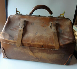Large Leather Medical Bag Brown Antique Genuine Cowhide Restoration Project