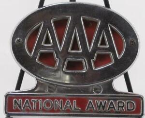 Vintage Red Aaa National Award Triple A License Plate Topper