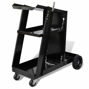 Mig Welder Welding Cart Trolley Black Steel Workshop Organiser Gas Cylinder New