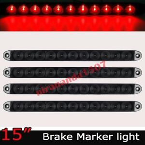 Smoke red 4 Pcs 15 11 Led Car Trailer Stop Turn Tail Brake Light Waterproof