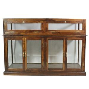 Vintage Store Type Display Cabinet Rectangular Solid Wood Glass Doors And Locks