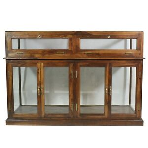 Solid Wood Glass Display Cabinet Rectangle Locks Vintage Store Display Cases