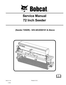 New Bobcat 72 Inch Seeder Service Manual 6987213 Free Shipping