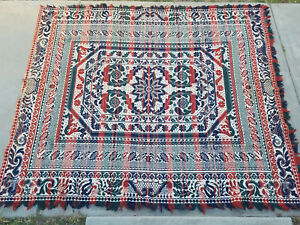 Antique Early 1800 S Wool Woven Coverlet 84 X 72 Red Navy Green As Is