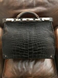 Doctor S Bag Large Antique Black Gator W Red Leather Interior